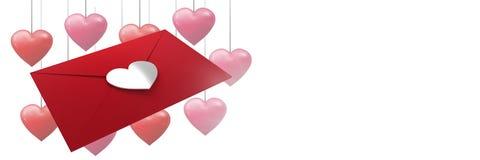 Lettre d'amour de valentines et fond de coeurs d'amour Photo stock