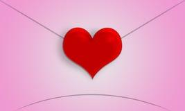 Lettre d'amour en forme de coeur rouge de Saint-Valentin Images libres de droits