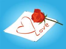 Lettre d'amour et fleurs de roses rouges Photo stock