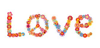 Lettre d'amour hippie de fleurs Photographie stock libre de droits