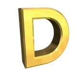 Lettre D de l'or 3d Images libres de droits