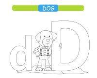Lettre D et chien dr?le de bande dessin?e A-z d'alphabet d'animaux Alphabet mignon de zoo dans le vecteur pour des enfants appren illustration de vecteur