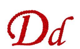 Lettre D et d d'alphabet faits à partir des fleurs de rose de rouge d'isolement sur le fond blanc Images stock