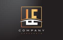 Lettre d'or Logo Design de LE L E avec la place et le bruissement d'or Images libres de droits