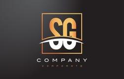 Lettre d'or Logo Design de SG S G avec la place et le bruissement d'or illustration stock