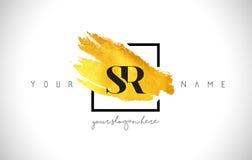 Lettre d'or Logo Design de SR avec la course créative de brosse d'or illustration de vecteur
