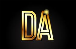 lettre DA d d'alphabet d'or une conception d'icône de combinaison de logo Photographie stock libre de droits