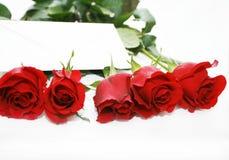 Lettre dans les roses rouges Photographie stock libre de droits