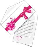 Lettre de félicitations au jour de valentines Photos libres de droits