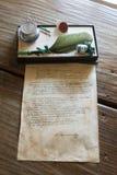 Lettre de Lermontov et ensemble pour des lettres dans un musée à la mémoire du grand poète russe du séjour M Images stock