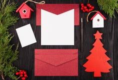 Lettre de Noël, carte postale Vue de ci-avant photo stock