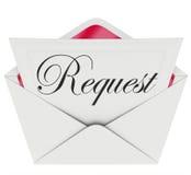 Lettre de note de Word d'enveloppe de demande demandant l'aide Images stock