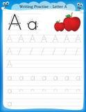 Lettre A de pratique en matière d'écriture Image stock