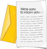 Lettre de rejet Image libre de droits