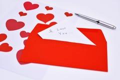 Lettre de Saint Valentin Photos stock