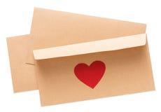 Lettre de Saint Valentin dans l'enveloppe d'isolement sur le fond blanc Photos stock