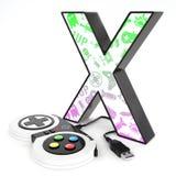 Lettre du ` 3d du ` X avec le contrôleur de jeu vidéo Photo libre de droits