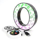Lettre du ` 3d du ` O avec le contrôleur de jeu vidéo Photographie stock libre de droits