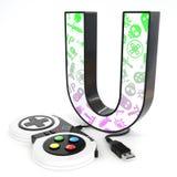 Lettre du ` 3d du ` U avec le contrôleur de jeu vidéo Photo stock