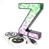Lettre du ` 3d du ` Z avec le contrôleur de jeu vidéo Photo stock