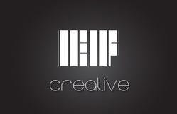 Lettre E-F E-F Logo Design With White et lignes noires Photos libres de droits