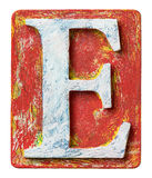 Lettre en bois E d'alphabet Image stock