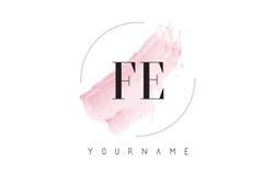 Lettre F-E Logo Design d'aquarelle de Fe avec le modèle circulaire de brosse Images libres de droits