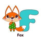 Lettre F - renard Alphabet avec les animaux mignons Image stock