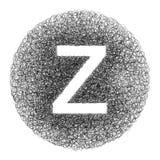 Lettre fabriquée à la main Z dessinée avec le stylo graphique sur le fond blanc - Photographie stock libre de droits
