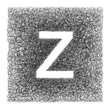 Lettre fabriquée à la main Z dessinée avec le stylo graphique sur le fond blanc - Images stock