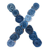 Lettre X fait de petit pain de jeans Image libre de droits
