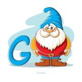 Lettre G avec le Gnome drôle Photos stock