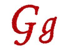 Lettre G et g d'alphabet faits à partir des fleurs de rose de rouge d'isolement sur le fond blanc Photographie stock