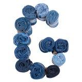 Lettre G faite de petit pain de jeans Photographie stock libre de droits