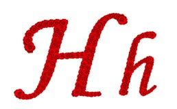 Lettre H et h d'alphabet faits à partir des fleurs de rose de rouge d'isolement sur le fond blanc Photos stock
