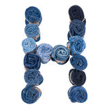 Lettre H faite de petit pain de jeans Photos libres de droits