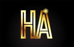 lettre ha h d'alphabet d'or une conception d'icône de combinaison de logo Images stock