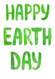 Lettre heureuse de vert de jour de terre images stock