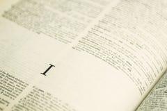 Lettre I de plan rapproché en dictionnaire anglais Photos libres de droits