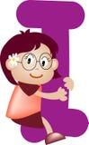 Lettre I (fille) d'alphabet Image libre de droits