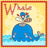 Lettre illustrée W d'alphabet et baleine. Images libres de droits
