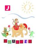 Lettre J Alphabet anglais de bande dessinée mignonne avec l'image et le mot colorés Image stock
