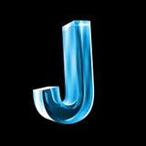 Lettre J en glace bleue 3D Photos libres de droits