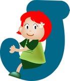 Lettre J (fille) d'alphabet Images libres de droits