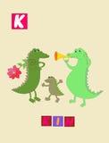 Lettre K Alphabet anglais de bande dessinée mignonne avec l'image et le mot colorés Image libre de droits