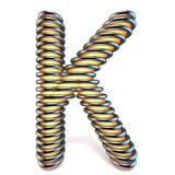 Lettre K de jaune orange dans la cage 3D en métal Photographie stock