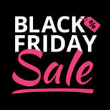 Lettre légère rougeoyante d'affiche de Black Friday sur le noir Photos stock