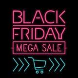 Lettre légère rougeoyante d'affiche de Black Friday sur le noir Image libre de droits