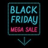Lettre légère rougeoyante d'affiche de Black Friday sur le noir Photographie stock libre de droits