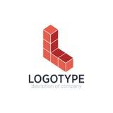 Lettre L chiffre éléments de cube de calibre de conception d'icône de logo Photographie stock